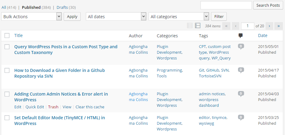 Create admin tables in wordpress with WP_List_Table class